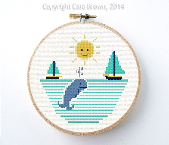Whale Cross Stitch Pattern Instant Download Easy Sailboat and Sun cute nursery needlepoint