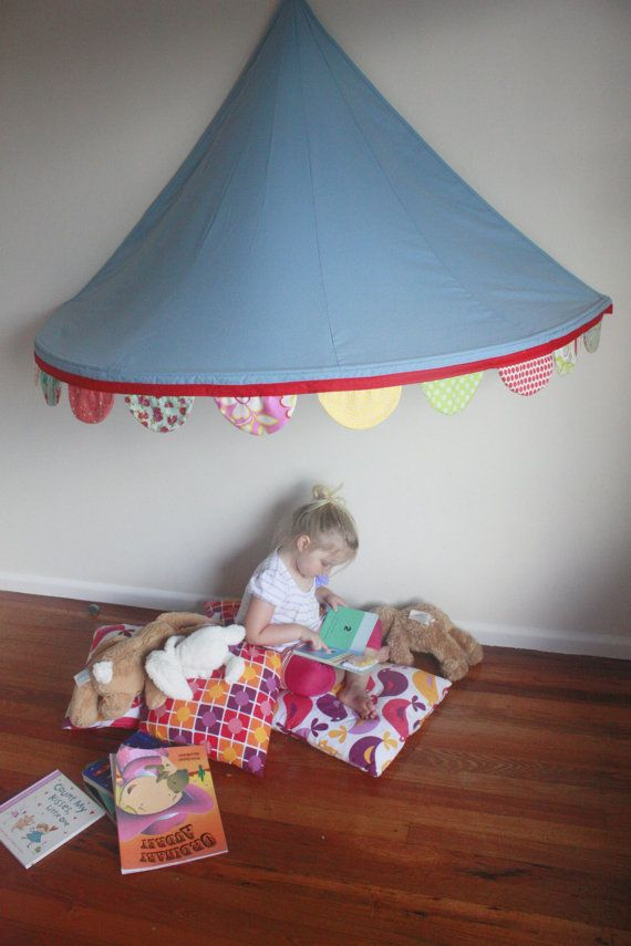 Childrens Bed Canopy Circus Tent with Gorgeous Scalloped Bunting - Pink Trim