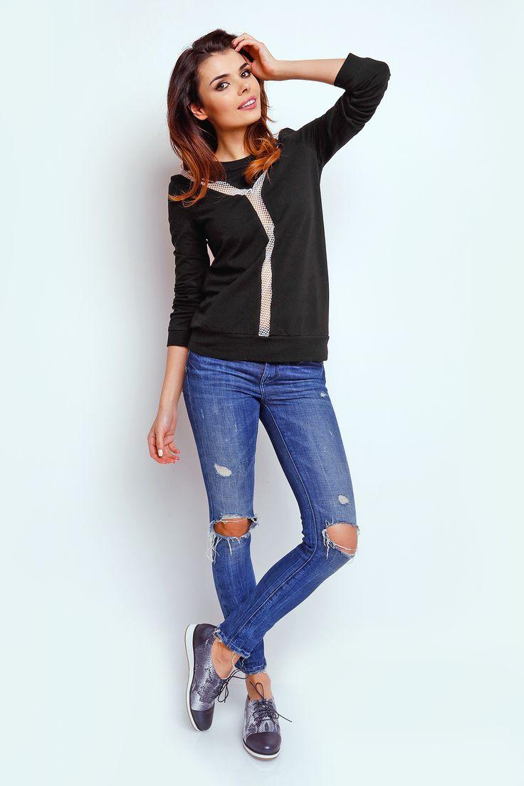 Czarna bluza damska z siateczką - TheTwiggyShop.com