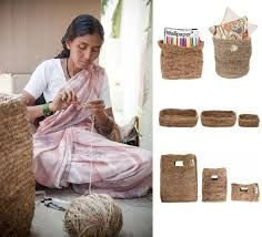 """Ecological banana fiber items are  hand crafted by local artisan women  in South India.  The programme was initiated with  the aim of providing better income,  social status and empowerment to  the local women. The material used for the bags  and baskets is the locally available  banana fiber made out of the  """"dead"""" leaves of the banana trees.  These leaves, previously considered  as waste, are now getting a new life  in the form of contemporary and  sustainable items."""
