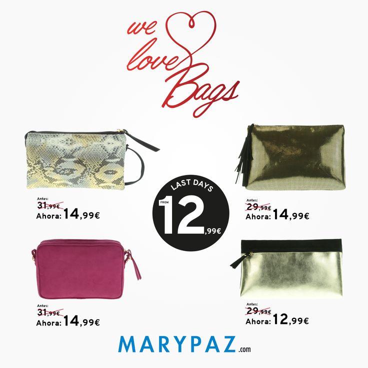 We Emoticón heart It Bags !  ►►► LAST DAYS FROM 5,99 € Aprovéchate de los ÚLTIMOS DÍAS desde 5,99 € en muchos de nuestros artículos en TIENDA y ONLINE www.marypaz.com  #itbags #bolsos #welovebags #rebajasmarypaz #lastdays #shoponline #rebajas #descuentos#sales #online #autumnwinter15 #otoñoinvierno15#AW15 #OI15 #ultimosdias  Descubre nuestra colección de bolsos aquí ► http://www.marypaz.com/tienda-online/bolsos.html