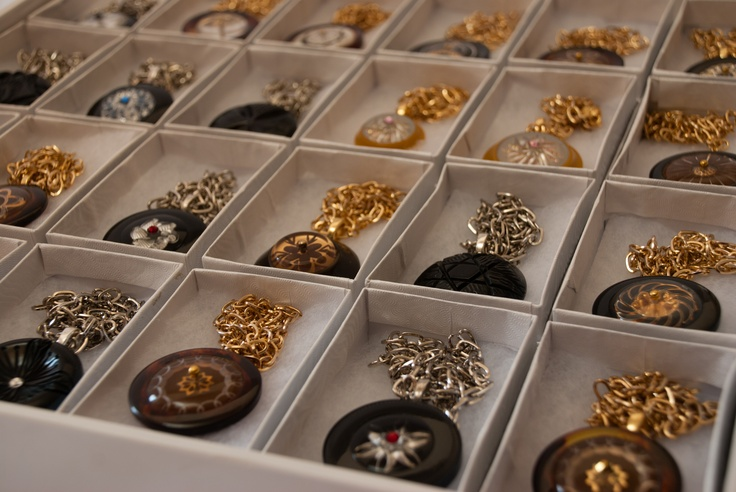 pendants make from vintage Bakelite coat buttons