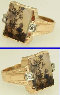 Antique 1920's Art Deco Dendritic Agate  LOVE and adore the itty bitty world preserved