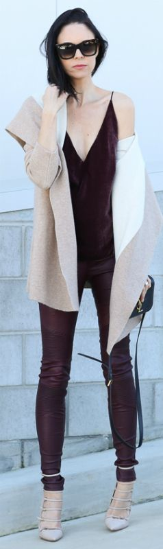 Fiona Edwards + burgundy velvet top + matching leather pants + striking look + coat and shoes neutral + oversized sunglasses + over the knee boots + short bomber jacket + edgy look.  Tank and Leather Jeans: J Brand, Cardi: Joie, Shoes: Wanted Shoes, Bag: YSL, Watch: Daniel Wellington, Bangle: Country Road, Sunglasses: Celine... | Style Inspiration