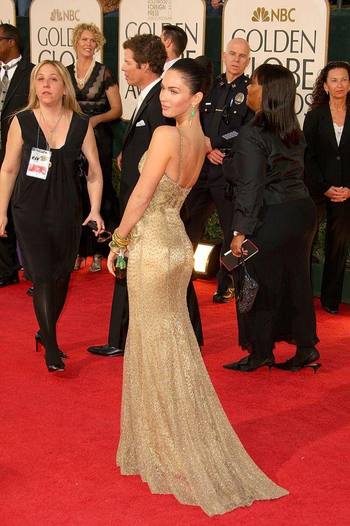 Ralph Lauren Collection  In honor of tomorrow's Golden Globe Awards, we flash back to Megan Fox rocking the red carpet in Ralph Lauren Collection in 2010