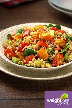 Brown Rice & Pumpkin Salad. #HealthyRecipes #DietRecipes #WeightLossRecipes weightloss.com.au