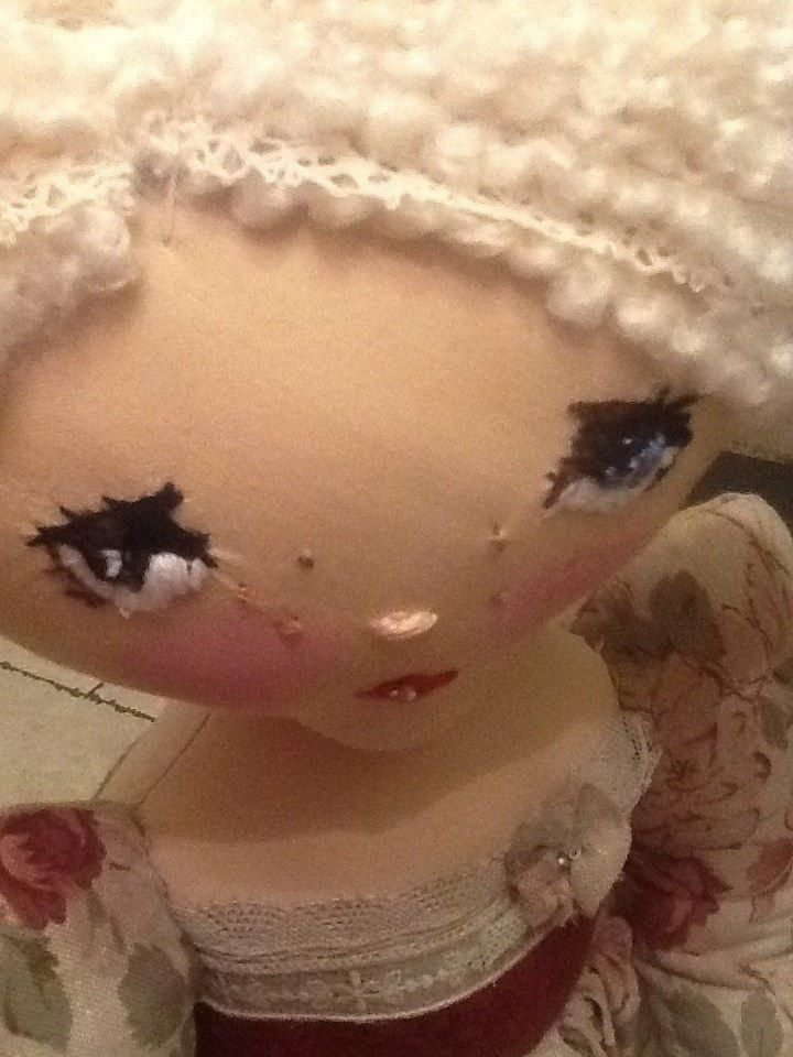 Hand embroidered personalised Rag doll