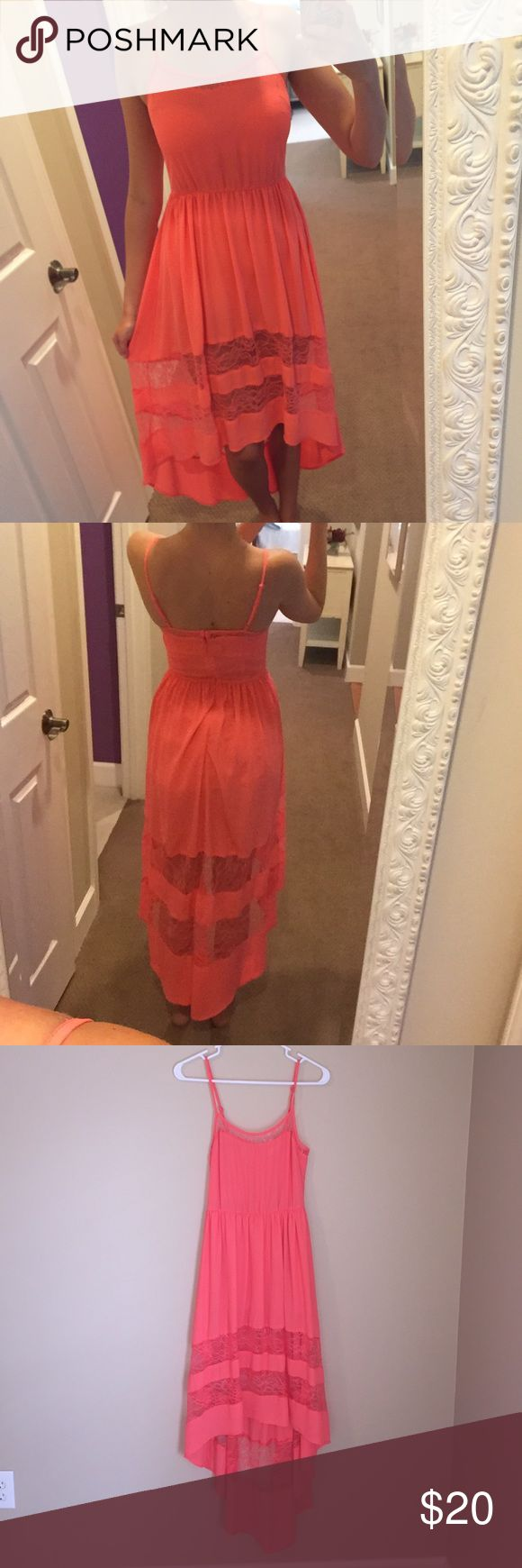 Lush hi-low coral sundress Lush brand hi-low sundress with lace cutouts and adjustable straps. Size S in juniors excellent condition! Brand is sold at Altar'd State Altar'd State Dresses High Low