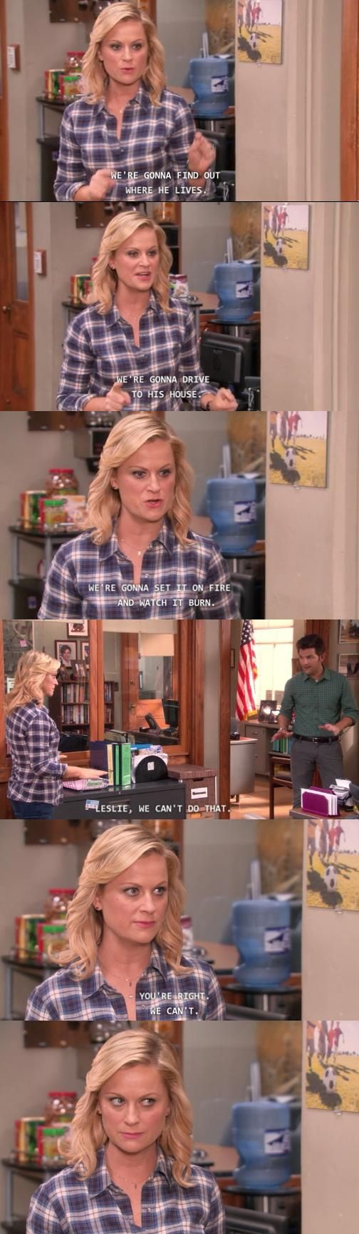 "Parks and Recreation Season Five Episode 8: Pawnee Commons. ""We're gonna find out where he lives, we're gonna drive to his house, we're gonna set it on fire and watch it burn."" ""Leslie, we can't do that."" ""You're right...we can't..."""