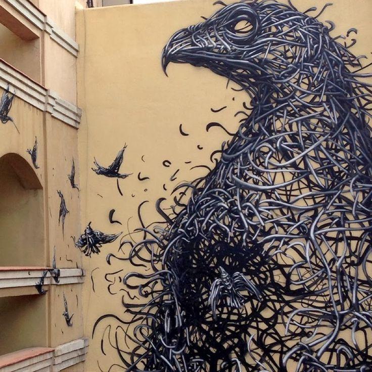 Murals Composed of Frenetic Linework by DALeast street art murals birds