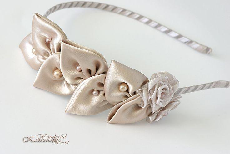 Kanzashi Fabric Flower Vintage Leaf Wedding Bridal Headband. $22.00, via Etsy.
