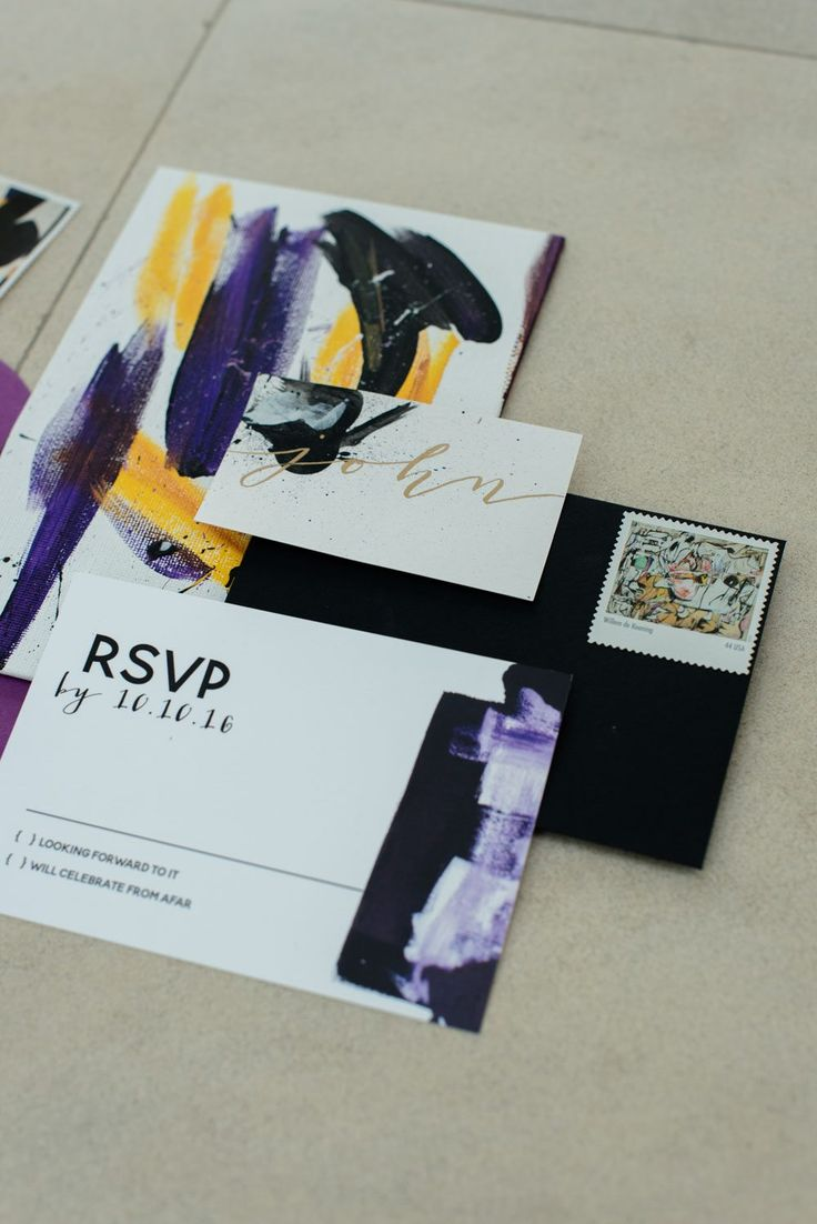Modern Art Paint Brush Style Wedding Invitation https://www.thecelebrationsociety.com/weddings/modern-art-gallery-wedding-ideas-jepson-center-arts-savannah-ga/