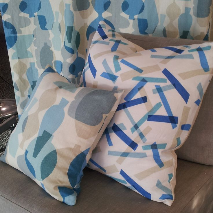 Jonathan Adler for Kravet Collections by Waraick Fabrics.  Cushion front: Pots col; Surf 5 back: Pixa Stix col; Lapis 516  www.lahood.co.nz