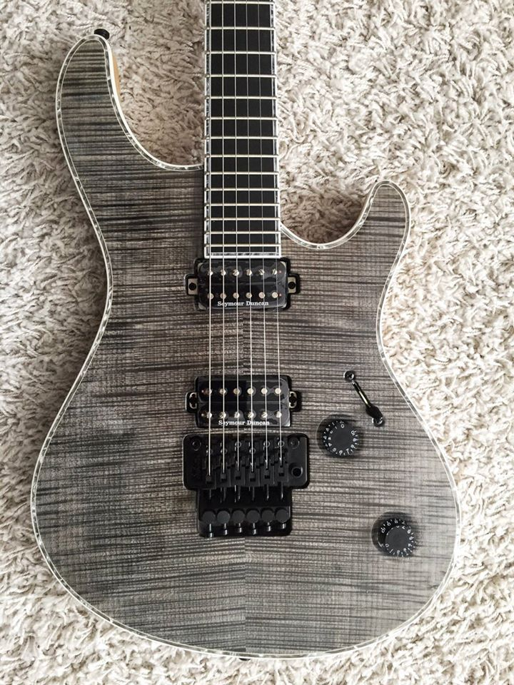 Mayones Guitars Basses Regius 6 PRO in transparent graphite gloss with matt back.