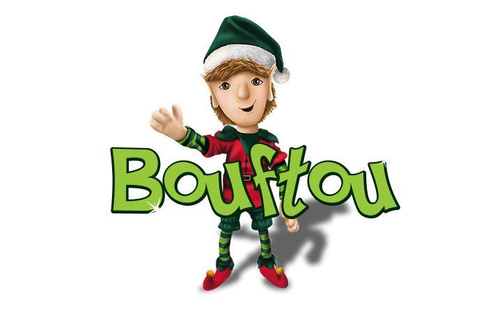 Bouftou - La légende des lutins Bonjour, mon nom est Bouftou. Je suis le lutin responsable du garde-manger du père Noël. Je suis très gourmand et il m'arrive de grignoter des biscuits, des céréales ou des bouts de sandwichs; mais ma gâterie préférée est le chocolat. Je ne peux y résister! J'aimerais bien être ton lutin, on s'amuserait beaucoup!