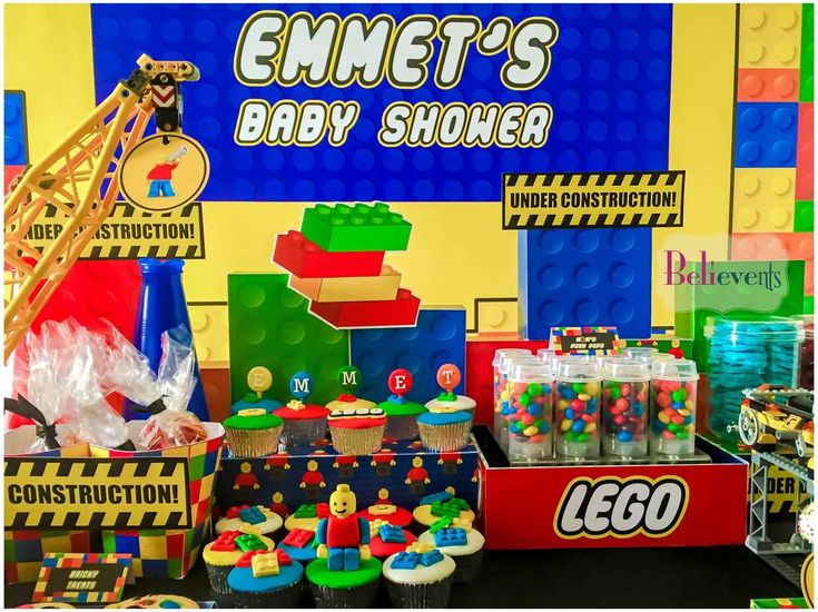 Lego baby shower party! See more party planning ideas at CatchMyParty.com!