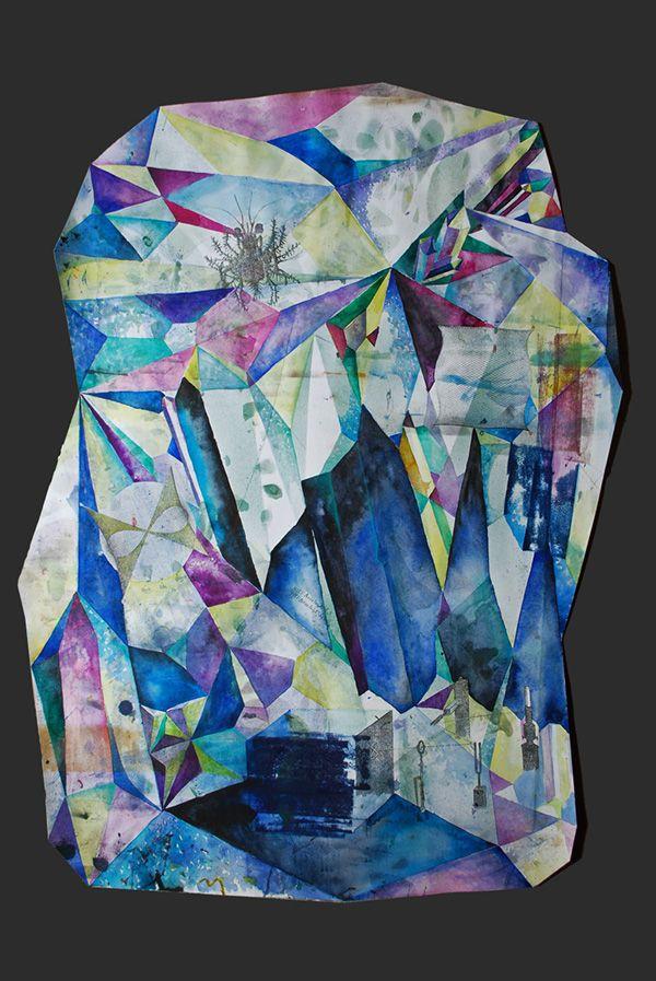 """Lapis Philosophorum"" - The Mineral Resonance  by G&K Lusikova #alchemy #architecture #art #contemporaryart #paper #etching #crystal #science"