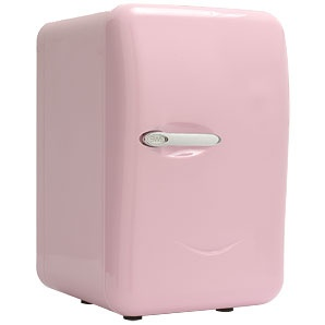 A baby pink mini bar fridge for the beauty room ^.^