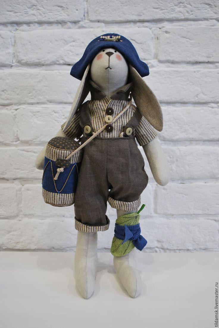 Купить Тильда зайчик с барабаном - интерьерная кукла, тильда заяц, зайка, подарок, подарок девушке