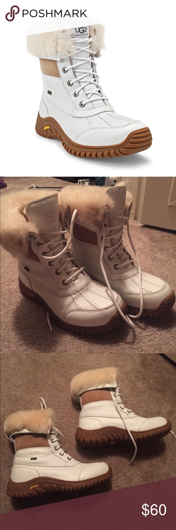 UGG White Adirondack Snow Bunny Boot Size 7.5 non smoking home, authentic UGG snow boots! Practically new only worn like twice. One boot is missing an insert from moving but you can get one from the ugg store😊 they are super warm and fluffy! UGG Shoes Winter & Rain Boots