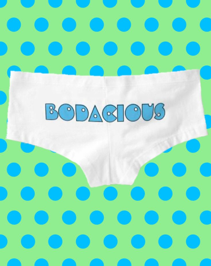 Retro 80's slang quote on the butt -BODACIOUS Booty Shorts - Text can be customized.  Cute women's boy shorts underwear with funny eighties word for totally awesome. 80s party fashion, beautiful big butt, raver girl, festival fashion, funny quotes, 80's humor, no pants party, phat azz, lingerie shower ideas, beach rave outfits, sexy panties, fat asses, cute gift for wife or girlfriend with nice booty, pacman. This is an affiliate link. #funnyunderwear #nopants