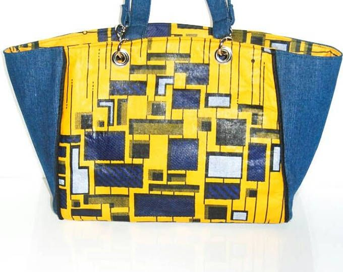 Denim and yellow tote bag