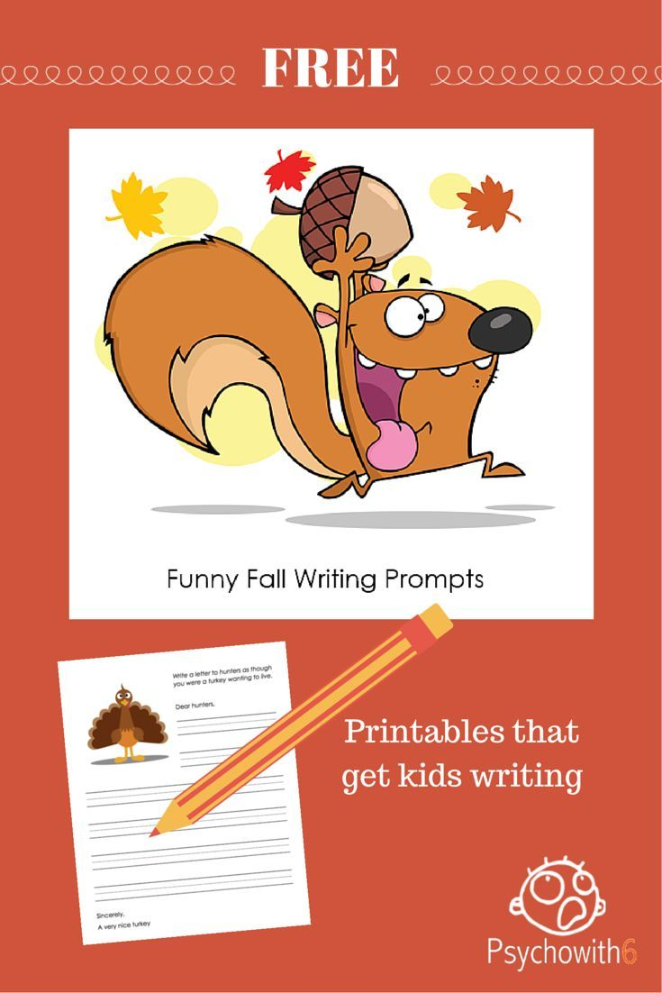 Free Funny Fall Writing Prompts to Get Kids Writing - http://www.psychowith6.com/free-funny-fall-writing-prompts-to-get-kids-writing/