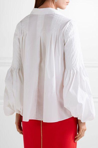 Oscar de la Renta - Pleated Stretch Cotton-blend Blouse - White - US14