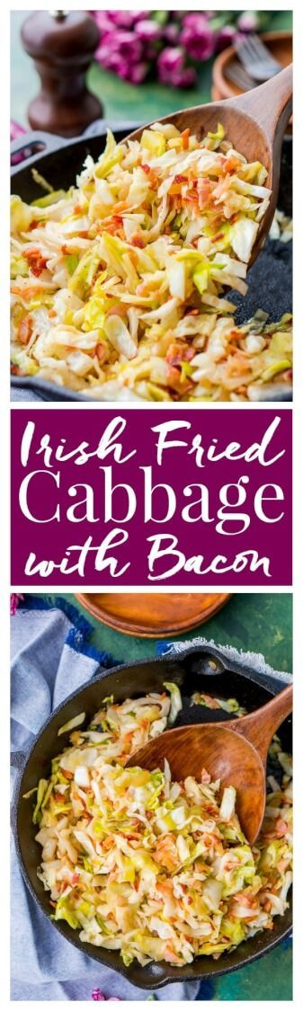 Irish Fried Cabbage is a simple recipe that's pan fried in bacon grease and loaded up with bacon pieces and onion and seasoned with brown sugar, salt, and pepper. via @sugarandsoulco