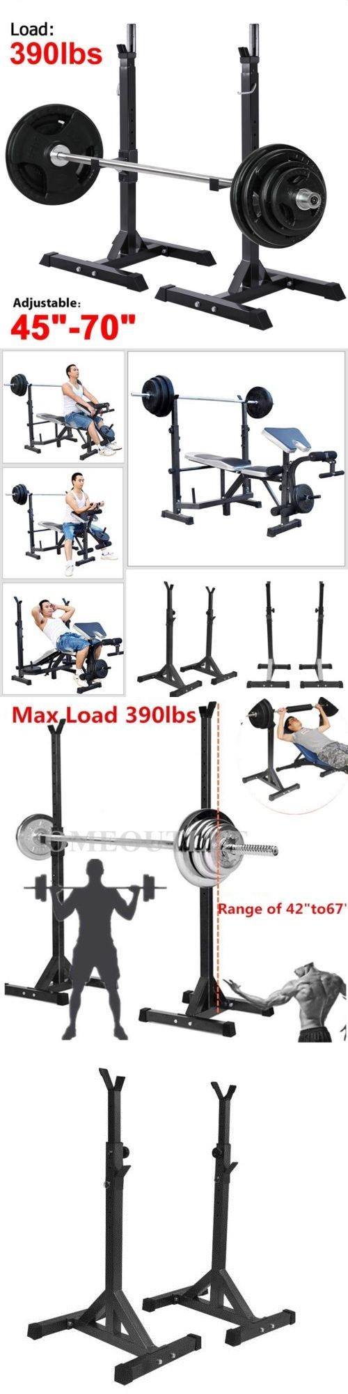 Other Strength Training 28067: 2X Adjustable Rack Standard Solid Steel Barbell Squat Bench Press Workout Stand -> BUY IT NOW ONLY: $42.36 on eBay!