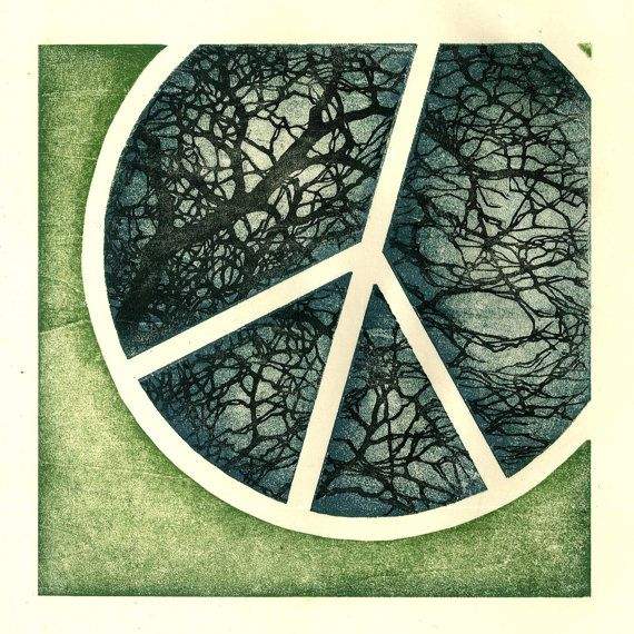 Peace Sign - Original Woodblock Print: Originals Woodblock, Peace Signs, Art Prints, Woodblock Prints, Trees