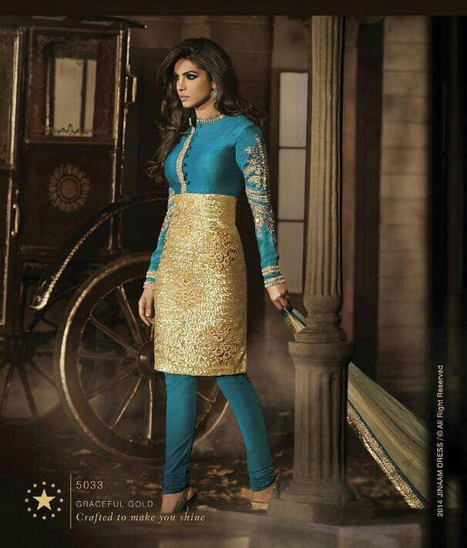 Designer work in most precious bhagalpuri silk salwar kameez online at www.heustyle.com