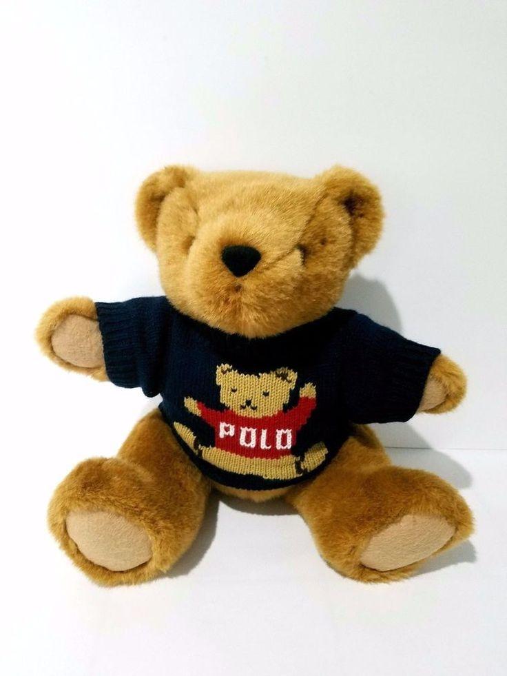 Vintage 1997 RALPH LAUREN Plush Teddy Bear Polo Sweater Moveable Arms Legs Toy #PolobyRalphLauren