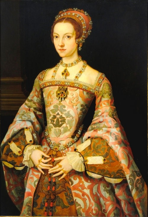 """Katherine Parr, sixth wife of Henry VIII. In this painting, Katherine is wearing the same necklace that Anne Boleyn wears in """"The Moost Happi Medal"""" and Jane Seymour and Catherine Howard wear in their portraits by Holbein's painting (but with a different pendant)."""