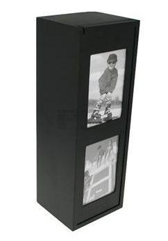 1-scomparto nero scatole di vino di legno per due foto, con una copertura scorrevole per comprare?