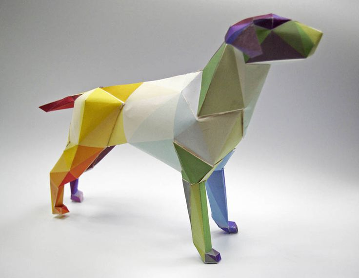 Gerald the Dog, the Lazerian logo becomes a colourful cut-out 3d paper model.