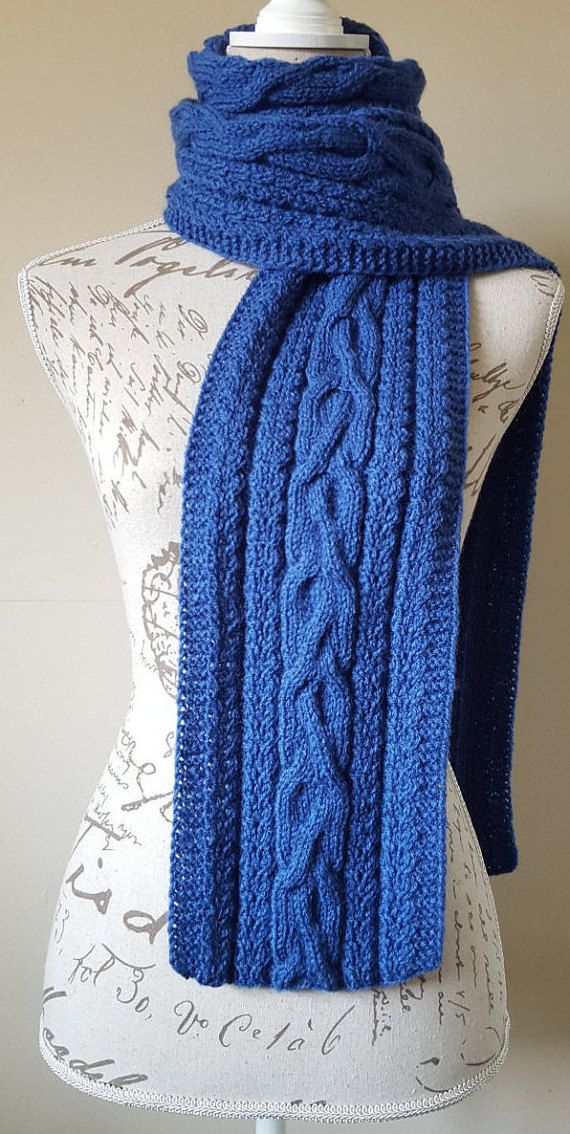 Blue Color Hand-Knitted Long Unisex Scarf by UllyWoolly on Etsy