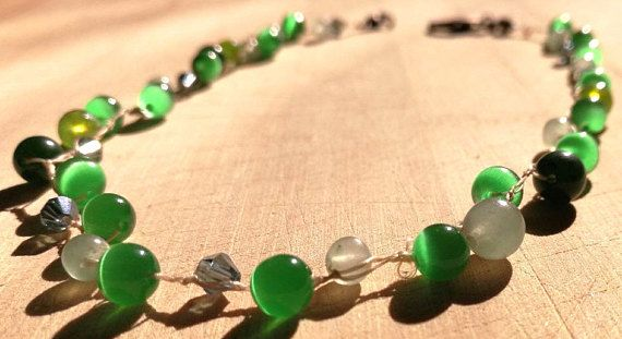 Crochet Necklace Cats Eye Boho Chic Green Necklace Gemstone