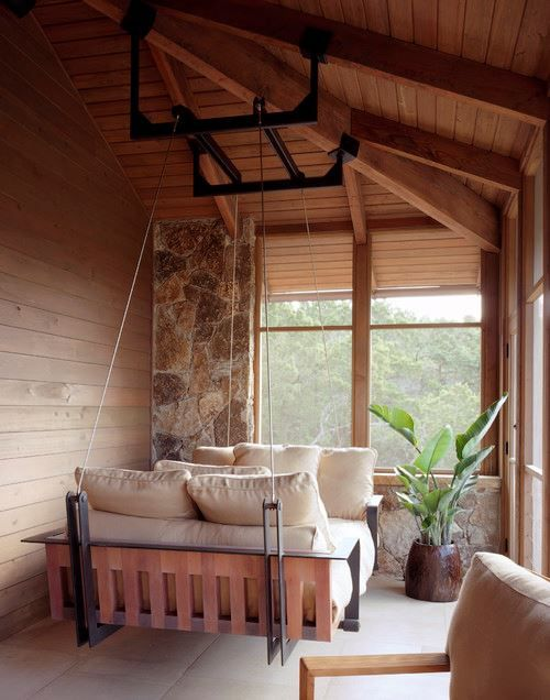 Freshome: a hanging daybed tucked in a cozy corner by Levan Shandize