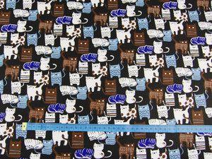 Tkanina bawełniana -Małe kotki na czarnym 515