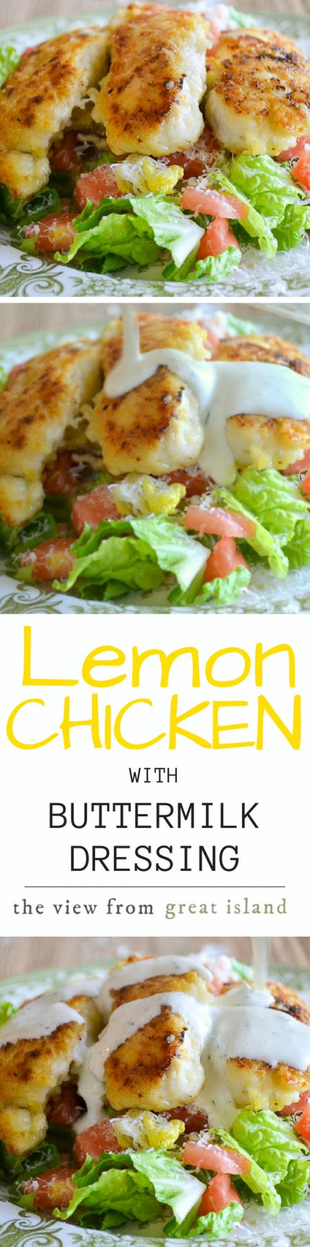 THIS Lemon Chicken with Buttermilk Dressing is one of my most requested recipes ~ the tender crispy chicken on top of a fresh salad and drenched in creamy buttermilk dressing is hard to beat! | salad | Ina Garten | chicken tenders | main course salad