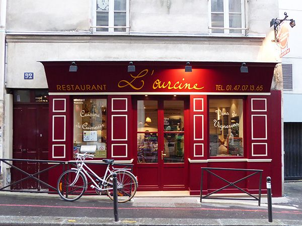 L'Ourcine stands on rue Broca, a location in the 13th arrondissement that is off the beaten tourist track. Its handsome, bright-red façade makes it easy to spot as one strolls down the street. http://www.parisinsights.com/restaurants.php