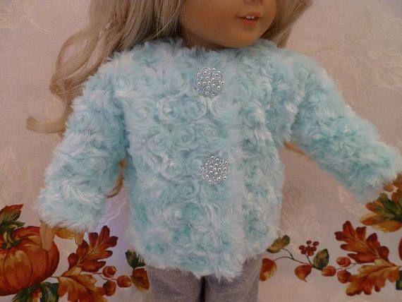 18 Inch Doll Fall / Winter Soft Mint Green Rosette Fleece