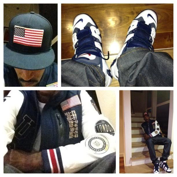 J.R. Smith Reppinu0026#39; USA In The Nike Air More Uptempo Olympic   Celebrity Kicks U0026 Fashion ...