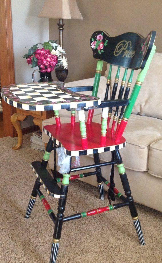 Custom Made Custom Hand Painted Wooden Child's High Chair