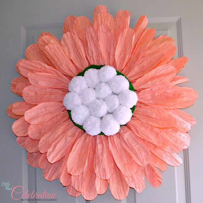 DIY {Big} Paper Twist Door Flower! How-to at littlemisscelebration.com @Cindy Eikenberg (littlemisscelebration)