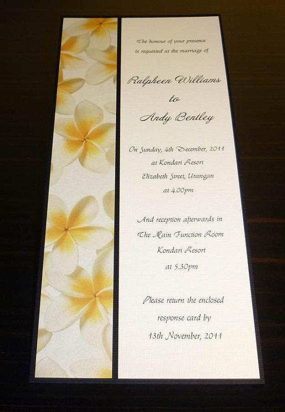Frangipani wedding invitation Yellow by StunningStationery on Etsy, $4.00