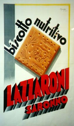 Vintage Italian Posters ~ #illustrator #Italian #posters ~ Marchesi, Lazzaroni Biscotto Nutritivo, 1932