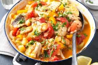 A one pot seafood stew that is delicious and full of tomato flavour. Great to serve with rice or French bread.