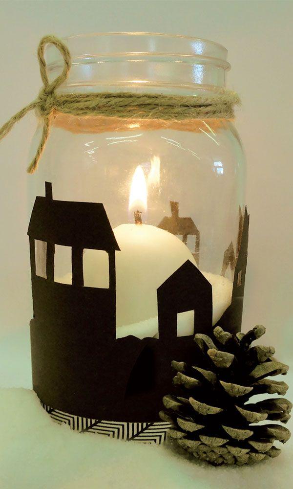 diy bocal village pour no l avec une bougie wesco un no l 100 diy pinterest noel. Black Bedroom Furniture Sets. Home Design Ideas